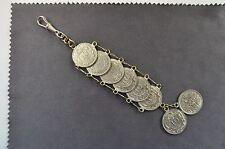 antike Uhrenkette , Chattleine , Metall versilbert, Münzen um 1909 datiert