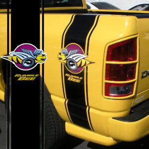 Dodge Ram Rumble Bee >> Details About 2pcs Racing Stripe Truck Car Vinyl Rumble Bee Stickers Decals For 1500 2500 Ram