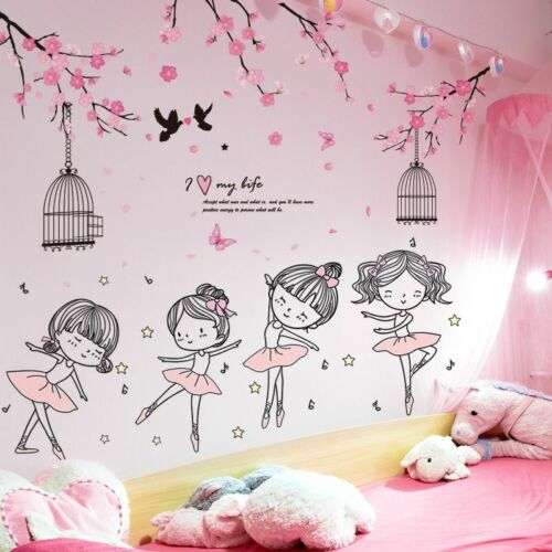 Cute Ballet Dancer Flowers Wall Stickers DIY Cartoon for Girl Room Removable