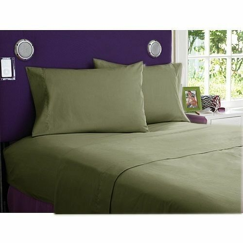 800TC EGYPTIAN COTTON BEDDING COLL. 6 PCS FITTED SHEET+DUVET COVER MOSS