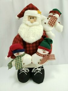 COUNTRY SANTA WITH LONG BEARD HOLDING 3 SNOWMEN About 14in tall