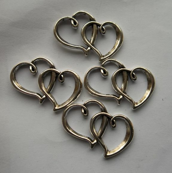 10pcs Tibetan silver zinc alloy plated Double heart charms connector 31x16mm
