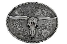 Men Fashion Belt Buckle Western Metal Bull Skull Texas Long Horn Cow Dark Silver