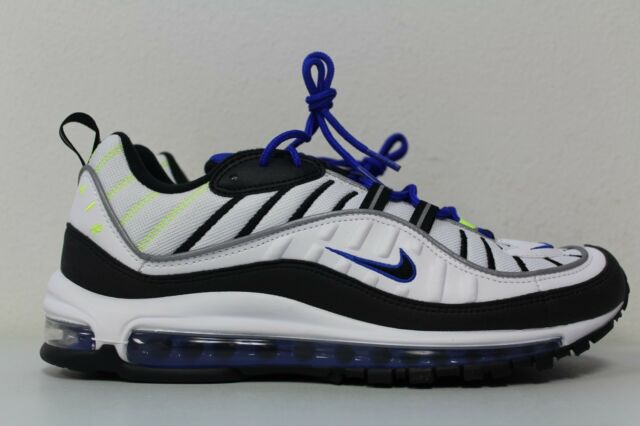 quality design 2b458 c9c62 Nike Mens Air Max 98 White Black Racer Blue Volt 640744-103 Size 8.5
