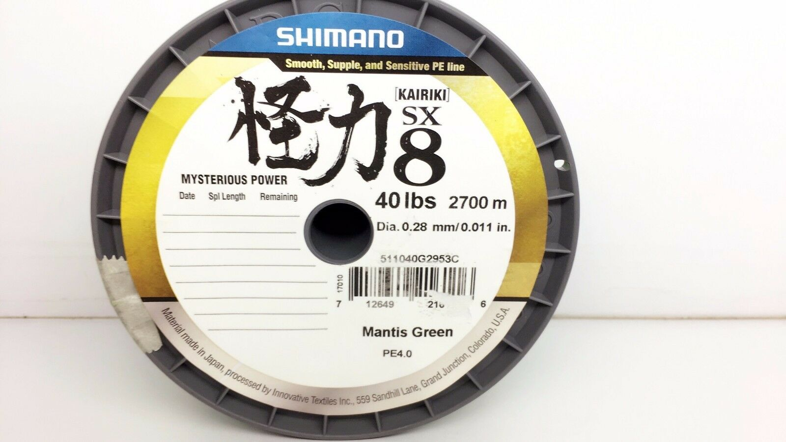SHIMANO KAIRIKI PE SX8 40LBS BRAID 2700M LINE SPOOL MANTIS GREEN 0.28mm