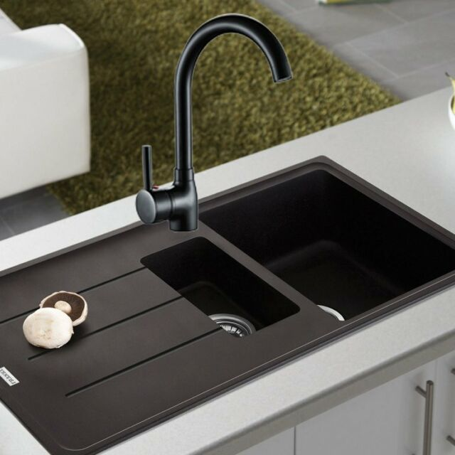Black Kitchen Sink Mixer Tap Single Handle 360° Swivel