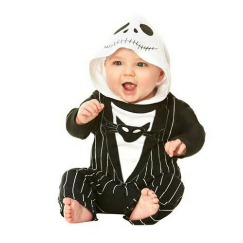 Halloween Newborn Baby Girls Pumkin Print Zipper Hooded Romper Bodysuit Costume