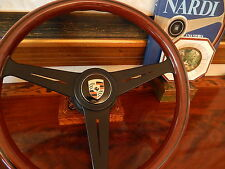 "Porsche 356 B Steering Wheel Nardi 15"" Stronger Wood Rim black anodized Frame"