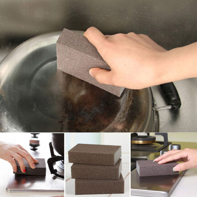 Sponge Carborundum Brush Kitchen Washing Cleaning Kitchen Cleaner Tool Brush HG