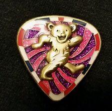 Dancing Bear Guitar Pick Pin Grateful Dead jerry Garcia pink/purple tour lot