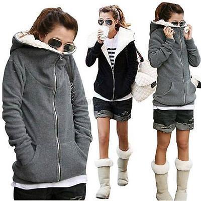 Korean Women Winter Warm Plush Fleece Hooded Coat Hoodies Jacket Outwear Tops
