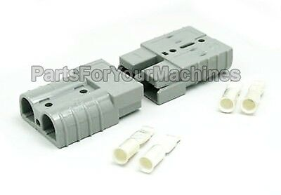 2 CONNECTORS w/CONTACTS #10/12GA, 50A, ANDERSON, SMALL GRAY, LESTER CHARGERS, RV
