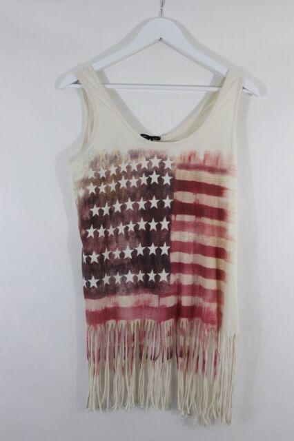 Ladies Topshop American Flag Sleevless Tassel Top Size 12 Festival Blogger (003)