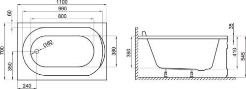 Bath Small Tub Rectangle 100 x 65//110 x 70 Apron AB//Overflow Acrylic