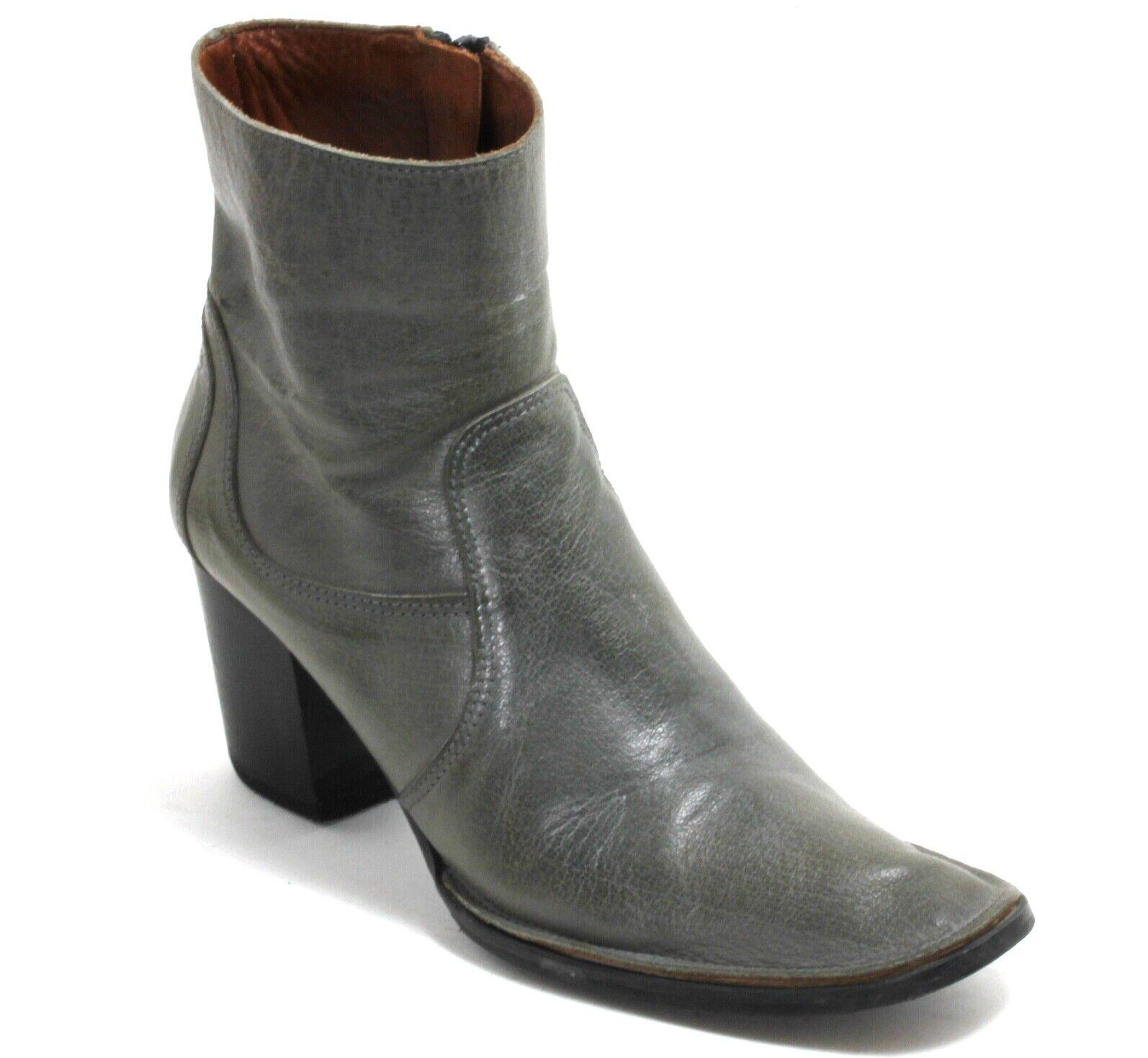 Bottines Vintage Chaussures Basses Moitié Bateau Cuir Fermeture Éclair Talons