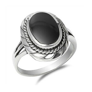 Women 13mm 925 Sterling Silver Black Onyx Ladies Vintage Style Ring Band