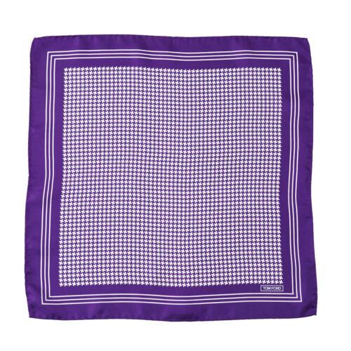 New $180 TOM FORD Royal Purple Houndstooth Check Print Silk Pocket Square