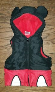 4c25f0648 DISNEY MICKEY MOUSE BABY RED BLACK FLEECE PUFFER VEST HOODIE Size 12 ...