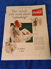 "1928 Original Saturday Evening Post Coca Cola ad 8 Million A Day 11""x14"""