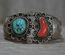 VINTAGE NAVAJO NATIVE AMERICAN CUFF BRACELET STERLING SILVER TURQUOISE