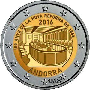 Piece-de-2-euros-commemorative-ANDORRE-2016-150-ans-Nouvelle-Reforme-de-1866