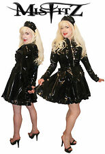 MISFITZ ALL BLACK PVC STRAIT JACKET MAIDS DRESS ALL SIZES  8 - 32 / CUSTOM MADE