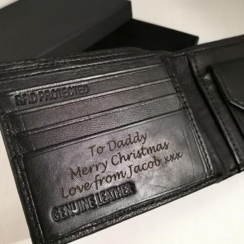 Boîte cadeau gravé en cuir véritable Noir Personnalisé Porte-Feuille