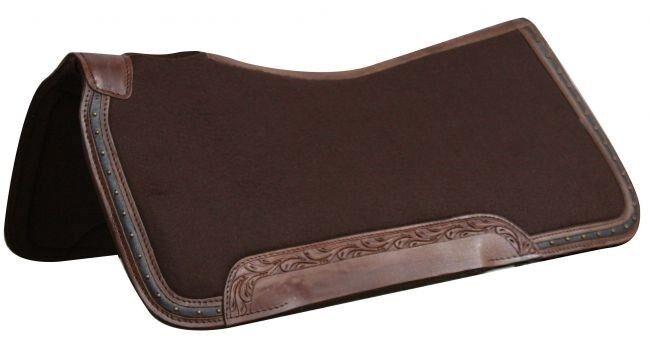 Showman 31 X32  Marrón Lana Top Parte inferior de la Almohadilla de silla de montar de fieltro de memoria con tapicería de cuero nuevo