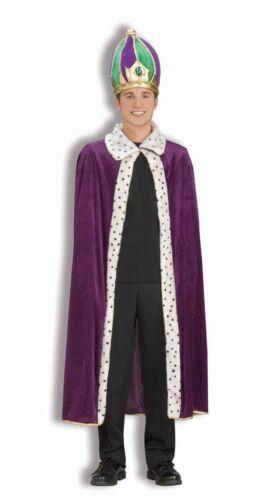 Purple Cape Crown Hat Mardi Gras Costume Carnival King Adult Wisemen Men Women