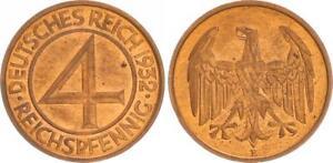 Weimar-4-Reichspfennig-1932-E-fast-Stempelglanz-J-315