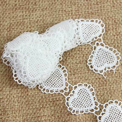 3 Yards Off White Polyester Heart Lace Trim Applique DIY Sewing Craft