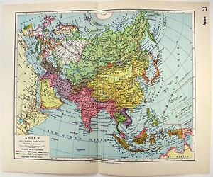 World Map 1933.Original 1933 German Map Of Asia By Meyers Ebay