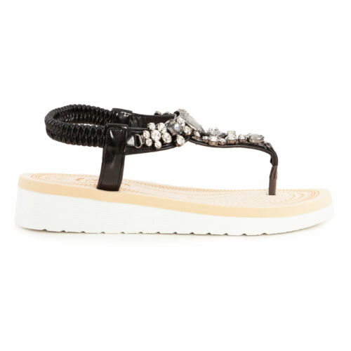Sandali donna scarpe flatform cinturino elastico gioiello eleganti TOOCOOL W9356
