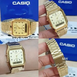 5733985fe49d Casio AQ230 AQ230GA AQ-230GA-9B Vintage Retro Gold Digital Analog ...