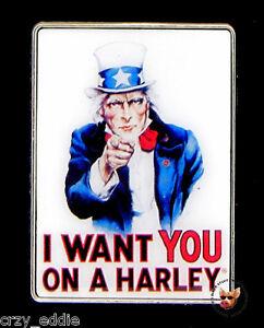 HARLEY DAVIDSON UNCLE SAM I WANT YOU ON A HARLEY VEST PIN PATRIOTIC