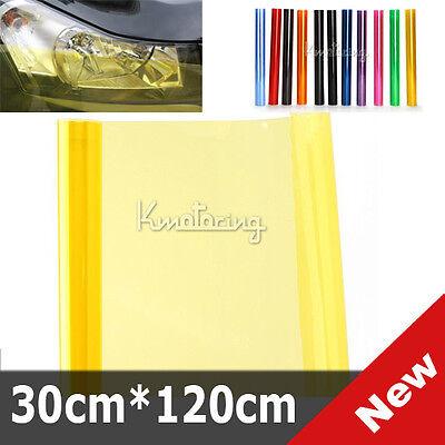 Yellow Car 3 layers Smoke Fog Tint Vinyl Head Light Film Sheet Sticker 30x120cm