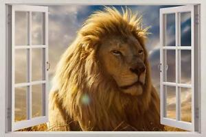 Lion 3d Window Decal Graphic Wall Sticker Art Mural Jungle Wild