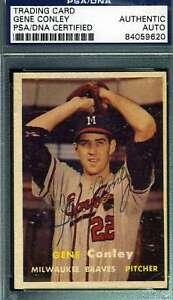 Gene-Conley-Psa-Dna-Coa-Autograph-1957-Topps-Authentic-Hand-Signed