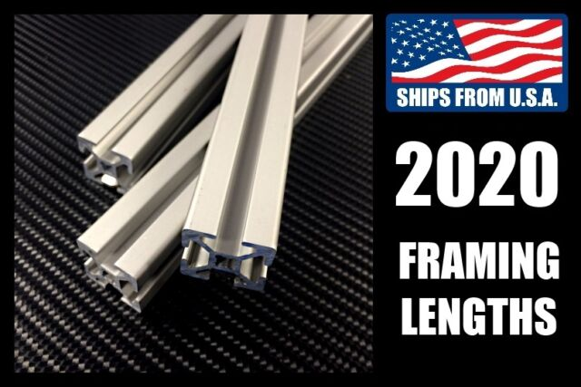 2020 20mm Aluminum Framing Extrusion 400mm/600mm/800mm/1000mm/1200mm Lengths