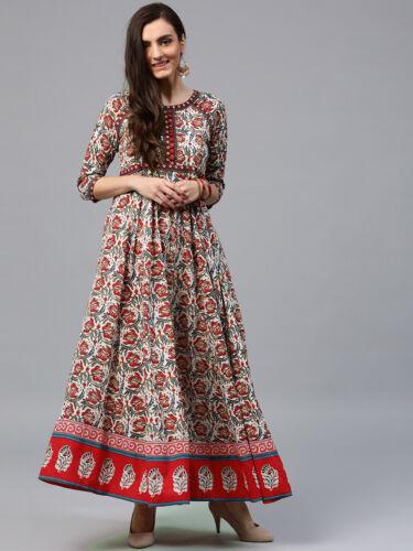 Women Designer Cotton Anarkali Kurta Floral Printed White /& Red Round Neck