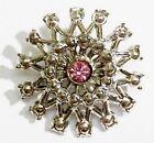 Bijou Vintage broche rétro ronde relief solitaire cristal couleur argent *3241