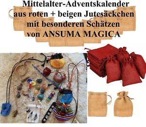 Mittelalter-Adventskalender-JUTE-Edelsteine-Lederarmb-Schellenbaender-Engel-NEU