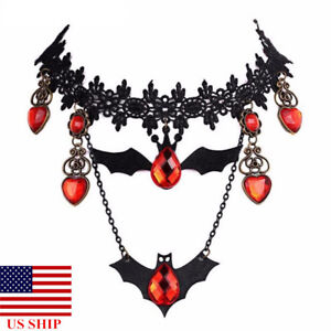US-Lace-Choker-Necklace-Bat-Crystal-Pendants-Retro-Punk-Halloween-CosplayJewelry