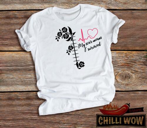 Open heart surgery Survivor T-Shirt Ma Cicatrice signifie I survived Unisexe T-shirt