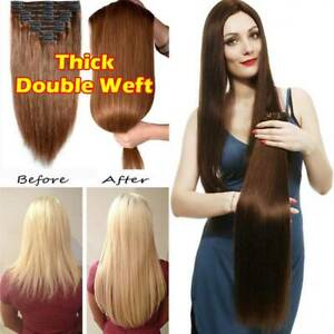 Real-Thick-Double-Weft-Clip-In-100-Remy-Human-Hair-Extensions-Full-Head-Long-Zz