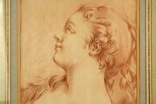 PLATINI disegno France 1780 giovane ragazza Portrait salmerino sanguine antico
