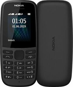 NEU Nokia 105 (2019-Schwarz (entsperrt) Handy (Single SIM und Dual Sim)