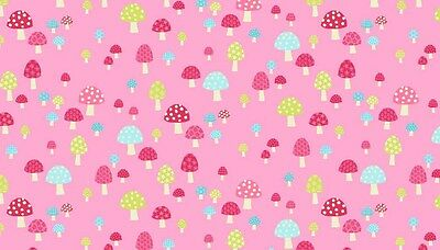 Flo's Garden  Toadstools, Mushroom  100% Cotton Fabric by Makower FQ