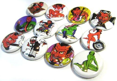 "One Inch Art Buttons Pinbacks 1/"" Pins Badges HOTROD Tattoo Girl 12 DEVIL PINUP"