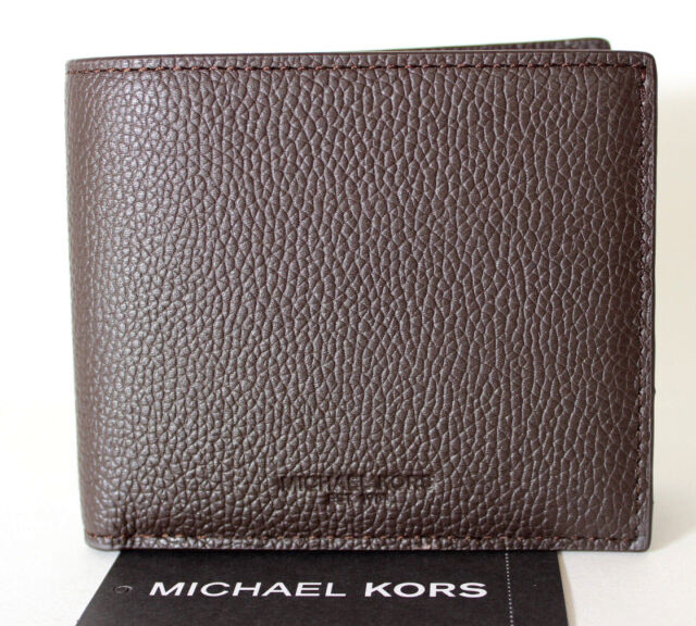 320f79ec90c6 Michael Kors Russel Mens Double Billfold Leather Wallet Brown 36T7LRUF1L NWT